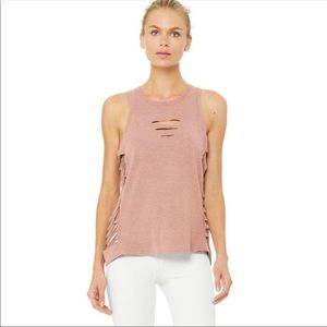 Aloe yoga rosewater heather color cut it out tank